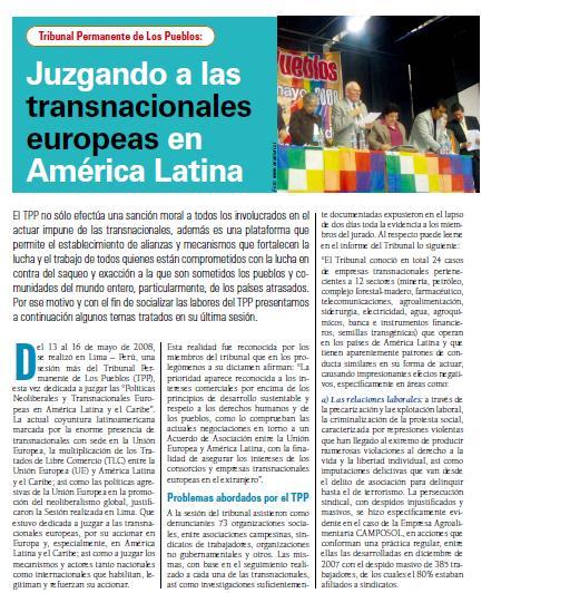 Tribunal Permanente de Los Pueblos: Juzgando a las transnacionales europeas en América Latina (Petropress 11, agosto 2008)