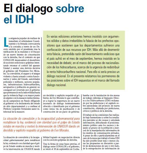 El dialogo sobre el IDH (Petropress 12, octubre 2008)