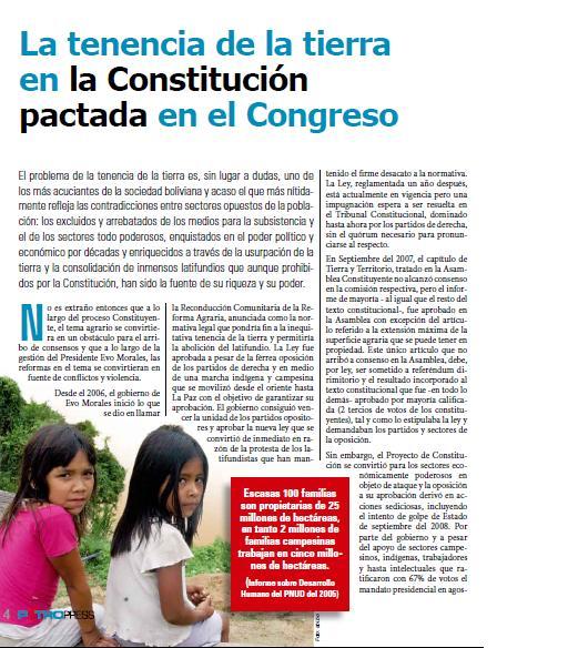 La tenencia de la tierra en la Constitución pactada en el Congreso (Petropress 13, enero 2009)