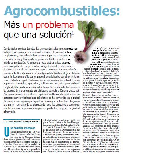 Agrocombustibles, más un problema que una solución (Petropress 14, 03.09)