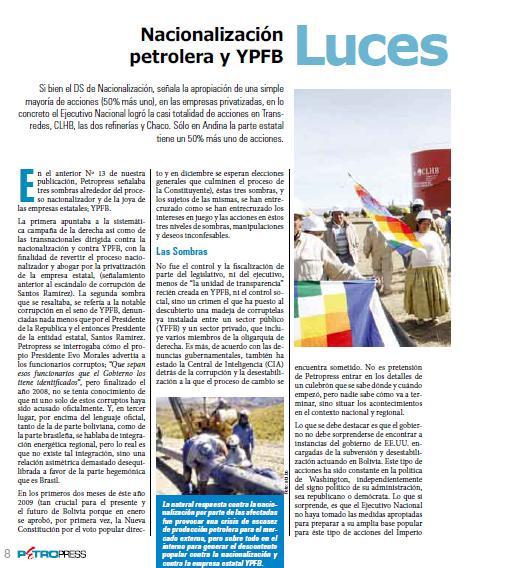 Nacionalizacion petrolera y ypfb, luces y sombras (Petropress 14, 03.09)