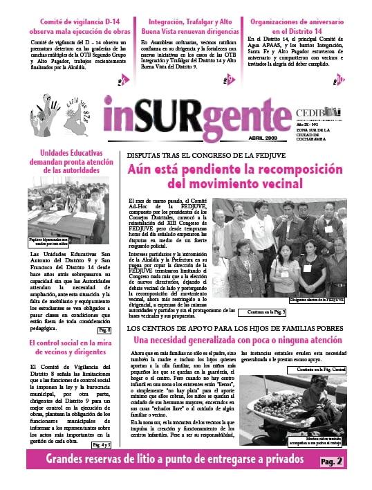 inSURgente, abril 2009
