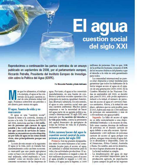 Agua, cuestion social del siglo XXI (Petropress 15, 6.09)