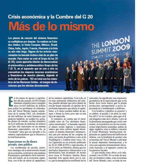 Crisis económica y la Cumbre del G 20. Más de lo mismo (Petropress 15, 6.09)