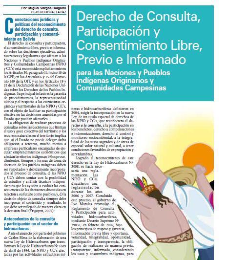 Derecho de Consulta, Participación y Consentimiento Libre, Previo e Informado para las Naciones y Pueblos Indígenas Originarios y Comunidades Campesinas (Petropress 16, 8.09)