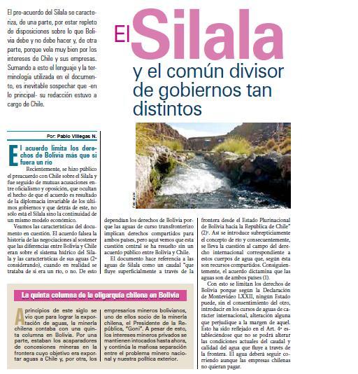 El Silala y el común divisor de gobiernos tan distintos (Petropress 16, 8.09)