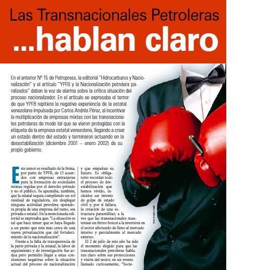 Las transnacionales petroleras hablan claro (Petropress 16, 8.09)