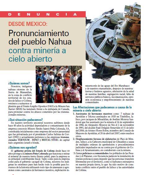 Denuncia desde México: Pronunciamiento del pueblo Nahua contra minería a cielo abierto (Petropress 16, 8.09)