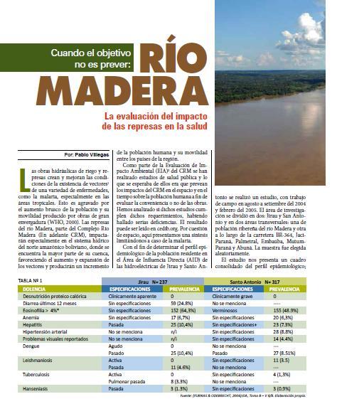 Río Madera: La evaluación del impacto de las represas en la salud (Petropress 17, 10.09)