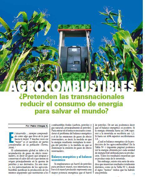 Agrocombustibles: ¿Pretenden las transnacionales reducir el consumo de energía para salvar el mundo? (Petropress 17, 10.09)