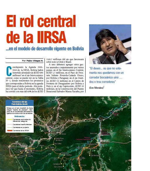 El rol central de la IIRSA en el modelo de desarrollo vigente en Bolivia (Petropress 18, 1.10)