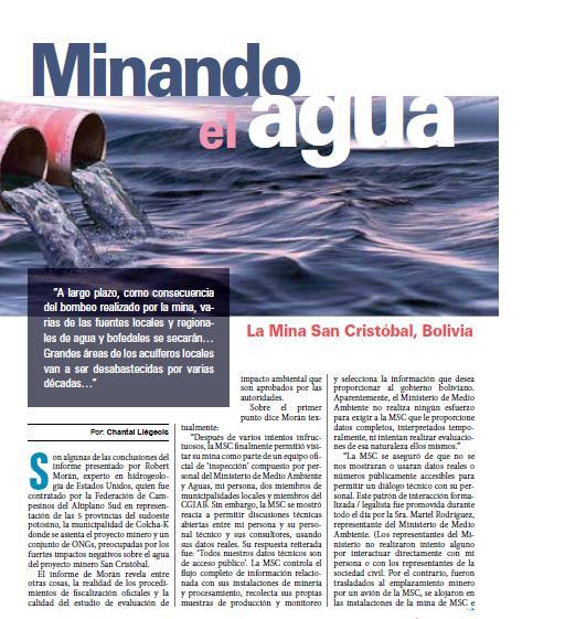 Minando el agua: Mina San Cristóbal (Petropress 18, 1.10)