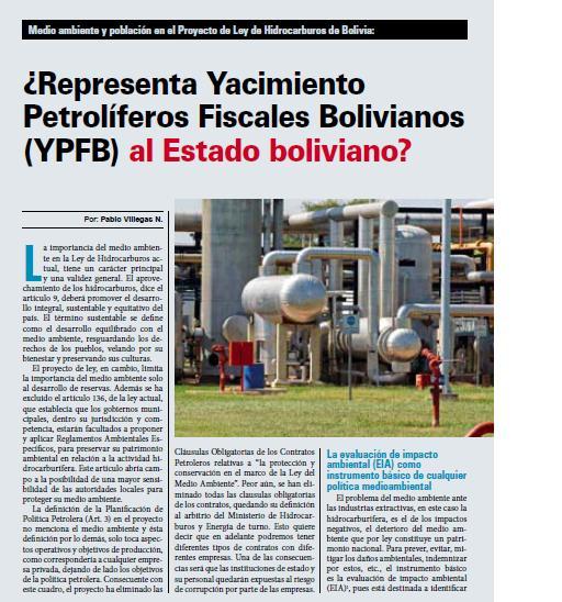 ¿Representa Yacimiento Petrolíferos Fiscales Bolivianos (YPFB) al Estado boliviano? (Petropress 18, 1.10)