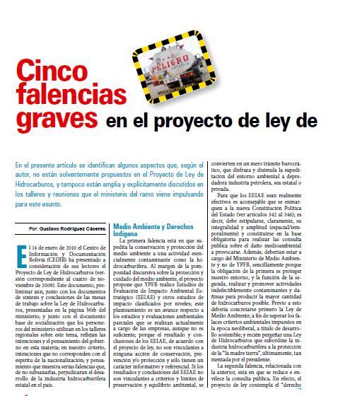 Cinco falencias graves en el proyecto de ley de hidrocarburos (Petropress 18, 1.10)