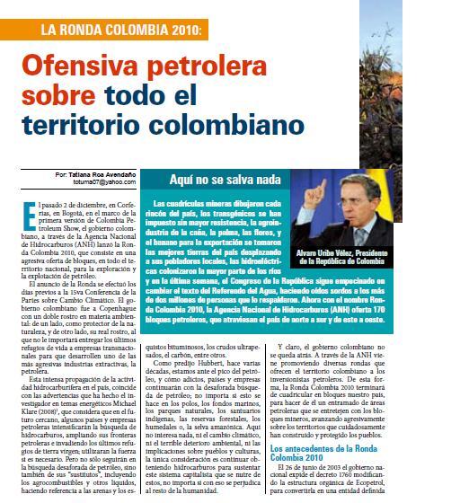 La Ronda Colombia 2010: Ofensiva petrolera sobre todo el territorio colombiano (Petropress 18, 1.10)