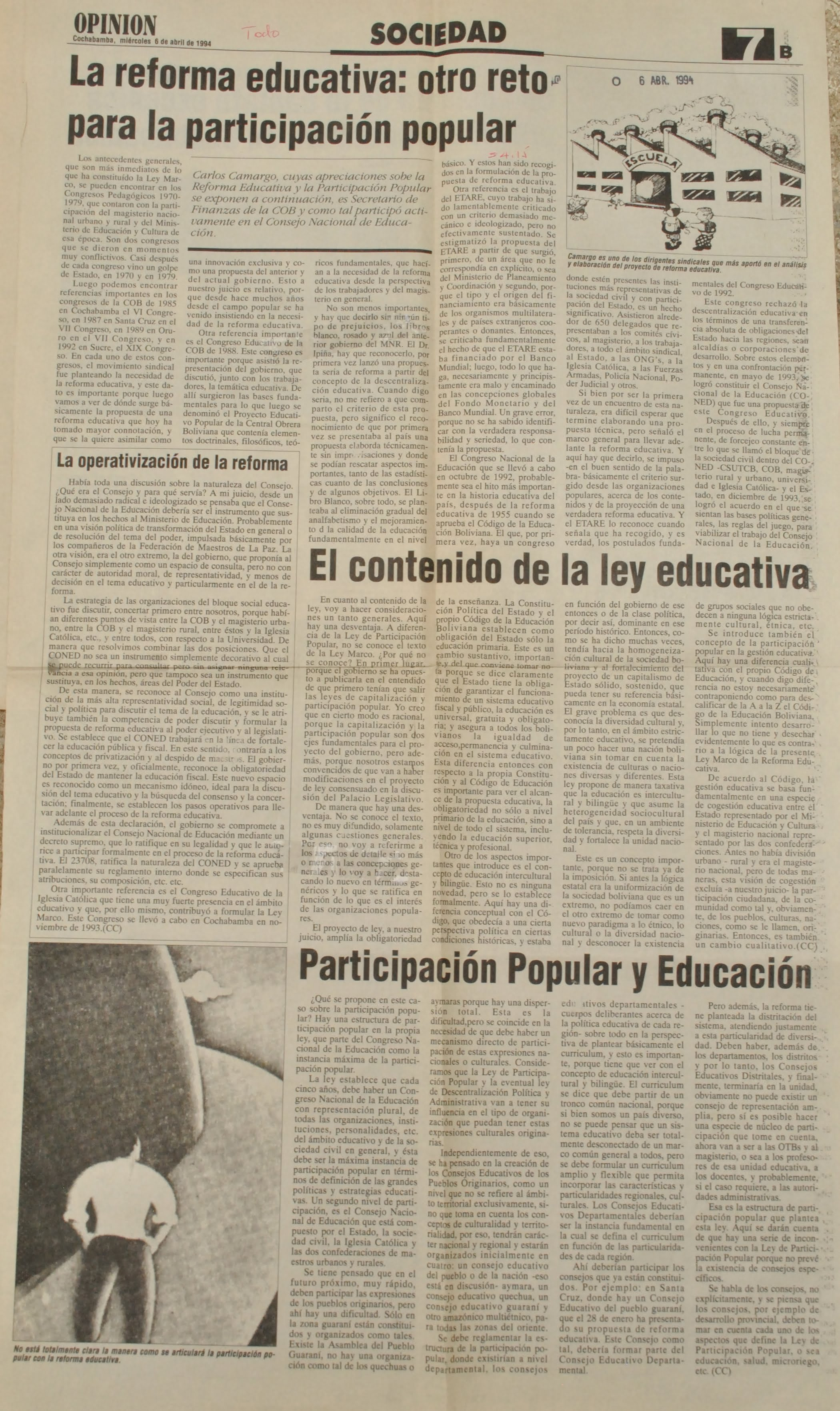 La reforma educativa: otro reto para la participación popular (Opinión, 06-04-94)