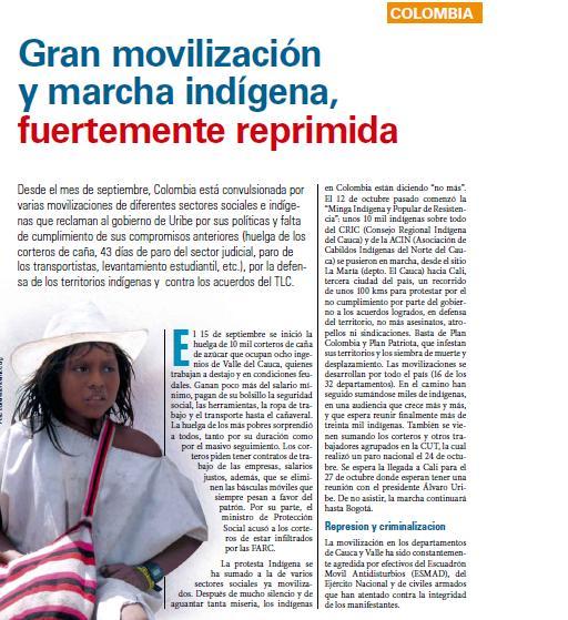 Colombia: Gran movilización y marcha indígena, fuertemente reprimida (Petropress 12, 10.08)