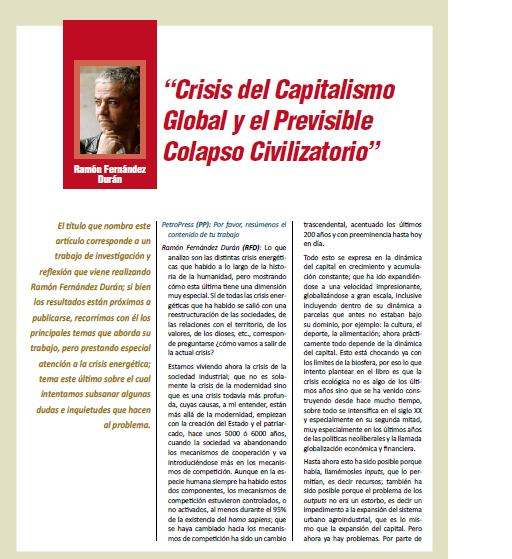 """Crisis del Capitalismo Global y el Previsible Colapso Civilizatorio"" (Petroress 20, 6.10)"