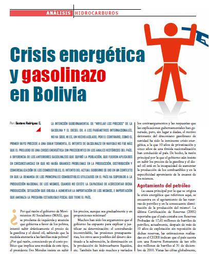 Crisis energética y gasolinazo en Bolivia (Petropress 24, Especial gasolinazo, 2.11)