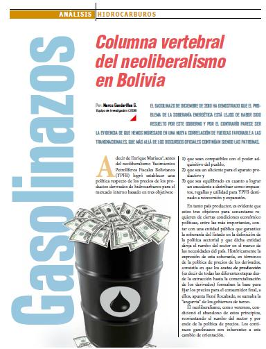 Gasolinazos: Columna vertebral del neoliberalismo en Bolivia (Petropress 24, Especial gasolinazo, 2.11)
