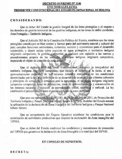 Decreto reglamentario de la Ley 180 de Intangibilidad del TIPNIS