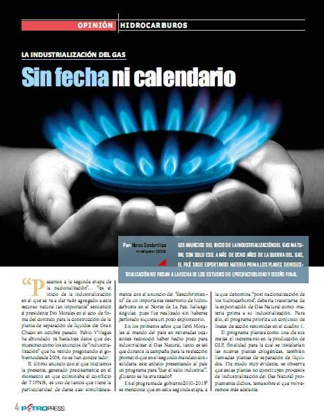 La industrialización del gas. Sin fecha ni calendario (Petropress 27, 11.11)