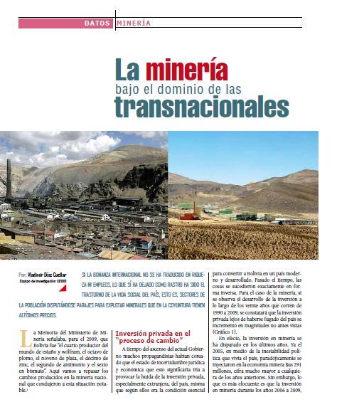 La minería bajo el dominio de las transnacionales (Petropress 25, junio 2011)