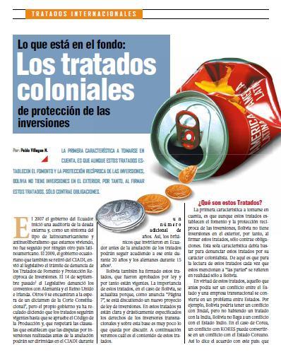 Los tratados coloniales. Lo que está en el fondo de la protección de las inversiones (Petropress 22, 9.10)