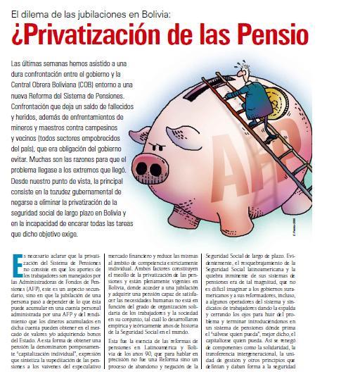 El dilema de las jubilaciones en Bolivia: ¿Privatización de las pensiones o Seguridad Social? (Petropress 11, agosto 2008)