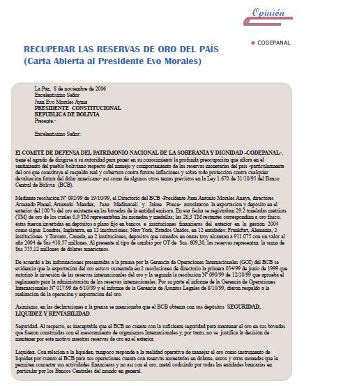 Recuperar las reservas de oro del país (Carta Abierta al Presidente Evo Morales) (Petropress 4, noviembre 2006)