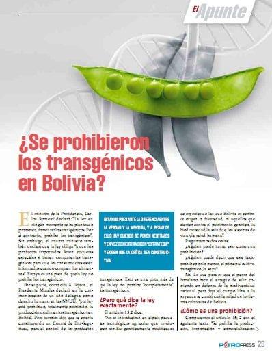 ¿Se prohibieron los transgénicos en Bolivia? (Petropress 26, septiembre 2011)