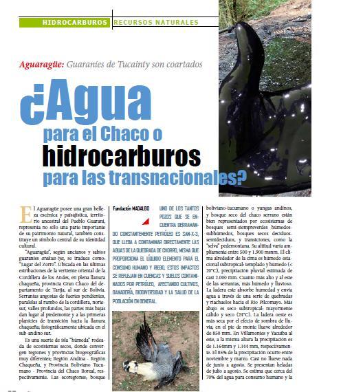 ¿Agua para el Chaco o hidrocarburos para las transnacionales? (Petropress 25, 6.11)