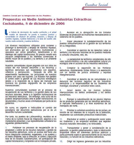 Cumbre Social por la Integración de los Pueblos: Propuestas en Medio Ambiente e Industrias Extractivas Cochabamba, 8 de diciembre de 2006 (Petropress 5, diciembre 2006)