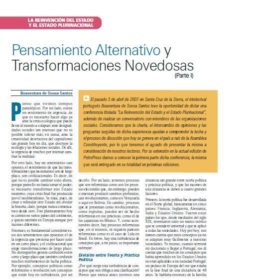 Pensamiento alternativo y transformaciones novedosas, Parte I (Petropress 7, octubre 2007)