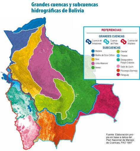 Grandes cuencas y subcuencas hidrográficas de Bolivia
