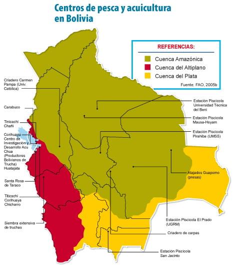 Centros de pesca y acuicultura en Bolivia