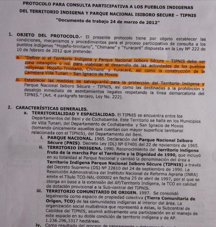 Protocolo para consulta participativa a los pueblos indígenas del TIPNIS, Documento de trabajo 24-03-12