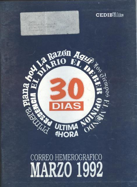 30 Días. Correo hemerográfico (Marzo 1992)