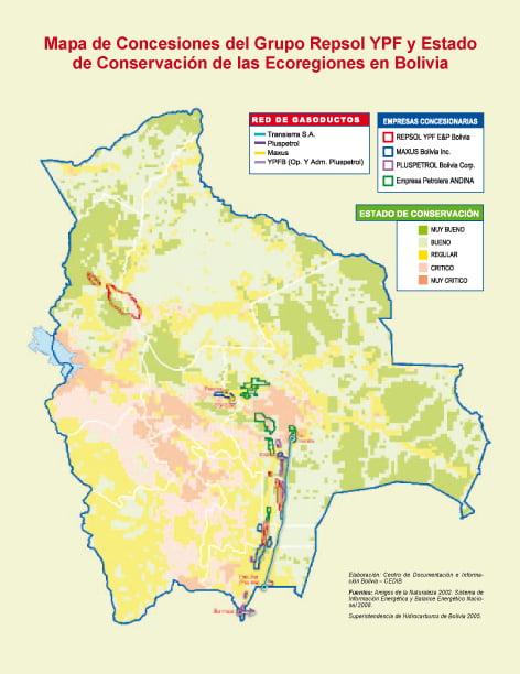 Mapa de concesiones del grupo Repsol YPF y estado de conservación de las ecoregiones en Bolivia