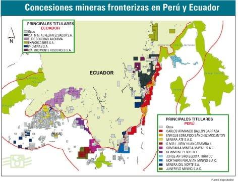 Concesiones mineras fronterizas en Perú y Ecuador