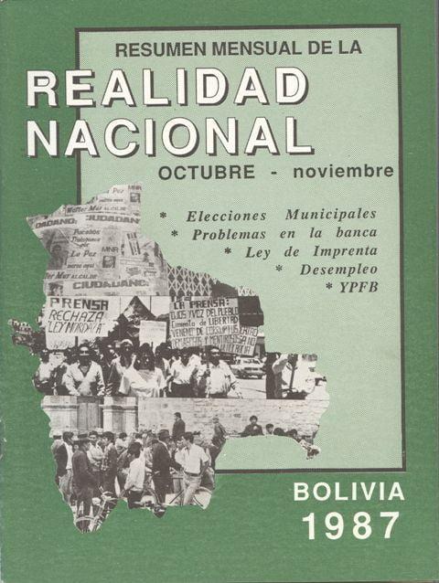 Resumen mensual de la Realidad Nacional (Octubre – Noviembre 1987)