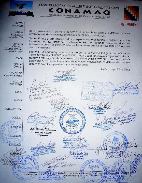 """Denuncia de CONAMAQ: """"Gobierno nacional boliviano viola nuevamente derechos humanos y derechos colectivos de los pueblos originarios campesinos"""" (22-05-12)"""