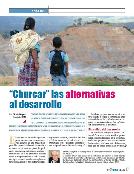 """Churcar"" las alternativas al desarrollo (Petropress 30, 1.13)"