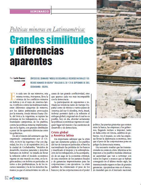 Políticas mineras en Latinoamérica: Grandes similitudes y diferencias aparentes (Petropress 30, 1.13)