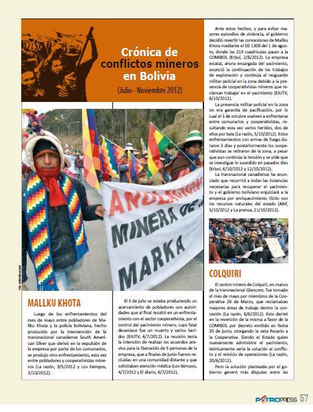 Crónica de conflictos mineros en Bolivia, Julio-Noviembre, 2012 (Petropress 30, 1.13)