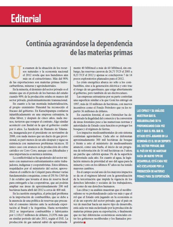 Continúa agravándose la dependencia de las materias primas, Editorial (Petropress 30, 1.13)