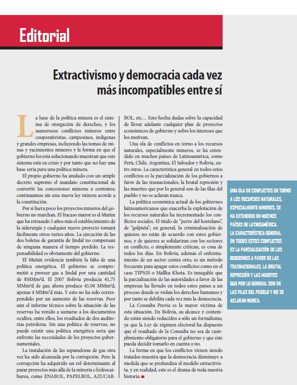 Extractivismo y democracia cada vez más incompatibles entre sí, Editorial (Petropress 29, 9.12)