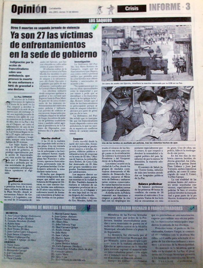 Ya son 27 las víctimas de enfrentamientos en la sede de gobierno (Opinión, 14.2.03)