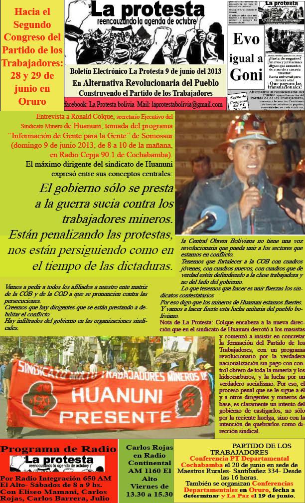 Ronald Colque-Secretario Ejecutivo Mineros de Huanuni: El gobierno sólo se presta a la guerra sucia contra los trabajadores mineros (La Protesta, 09.6.13)