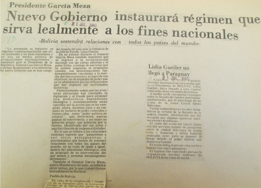 Presidente García Meza. Nuevo gobierno instaurará régimen que sirva lealmente a los fines nacionales (El Diario, 21.07.80)